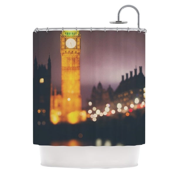 KESS InHouse Laura Evans Westminster at Night Yellow Multicolor Shower Curtain (69x70)