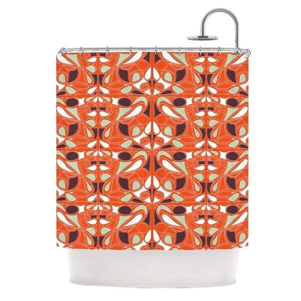 KESS InHouse Miranda Mol Orange Swirl Kiss Shower Curtain (69x70)