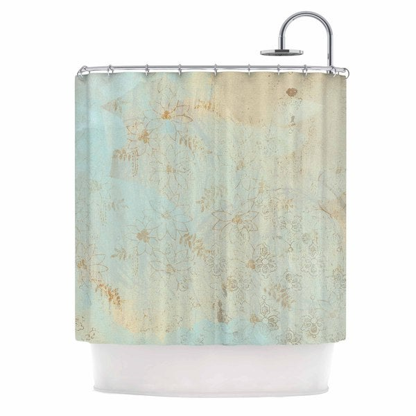 KESS InHouse Li Zamperini Vintage Beige Teal Shower Curtain (69x70)