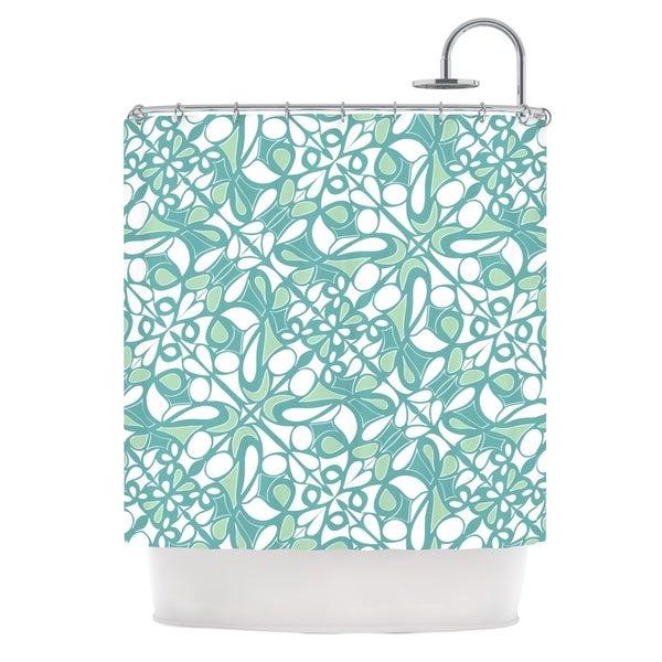 KESS InHouse Miranda Mol Swirling Tiles Teal Shower Curtain (69x70)