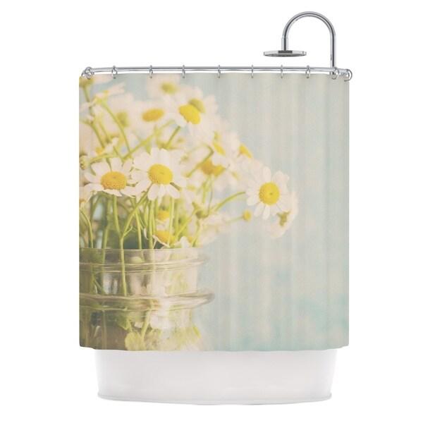 KESS InHouse Laura Evans O Daisy Green Yellow Shower Curtain (69x70)