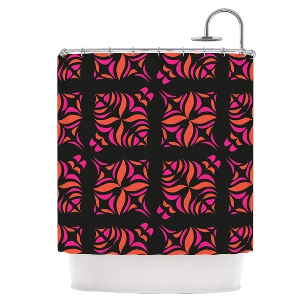 Shop KESS InHouse Miranda Mol Orange On Black Tile Shower Curtain 69x70