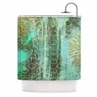 KESS InHouse Li Zamperini Land Green Gold Shower Curtain (69x70)