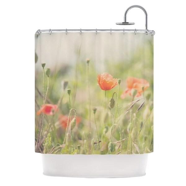 KESS InHouse Laura Evans Fields of Remembrance Green Orange Shower Curtain (69x70)