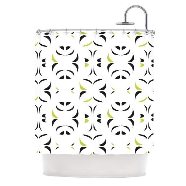 KESS InHouse Miranda Mol Retro Green Snow Storm Shower Curtain (69x70)