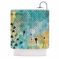 KESS InHouse Li Zamperini JUMP Yellow Green Shower Curtain (69x70)