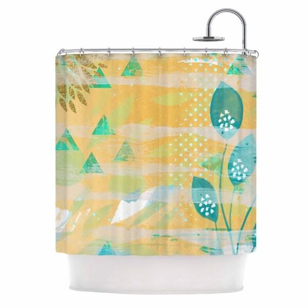 KESS InHouse Li Zamperini Foliage Yellow Green Shower Curtain (69x70)