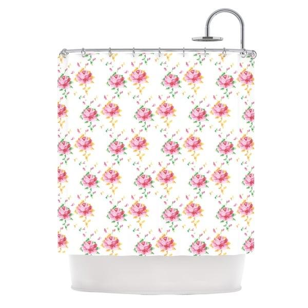 KESS InHouse Laura Escalante Cross Stitch Flowers White Pink Shower Curtain (69x70)
