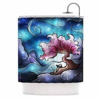 KESS InHouse Mandie Manzano Sea Dance Blue Orange Shower Curtain (69x70)