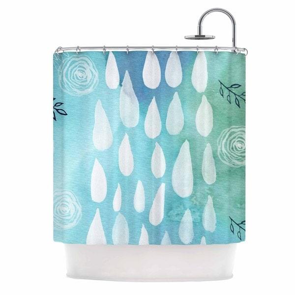 KESS InHouse Li Zamperini Rain Blue White Shower Curtain (69x70)
