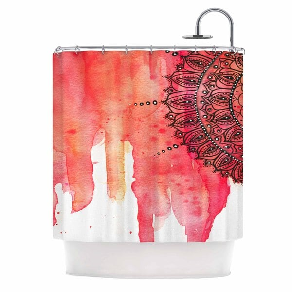 KESS InHouse Li Zamperini Red Mandala Red Black Shower Curtain (69x70)