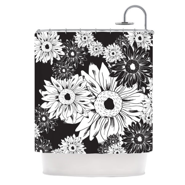 KESS InHouse Laura Escalante Midnight Florals Black Sunflower Shower Curtain (69x70)