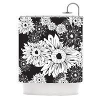 KESS InHouse Laura Escalante Midnight Florals Black Sunflower Shower Curtain (69x70)