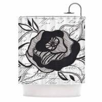 KESS InHouse Li Zamperini Like A Rose Black White Shower Curtain (69x70)