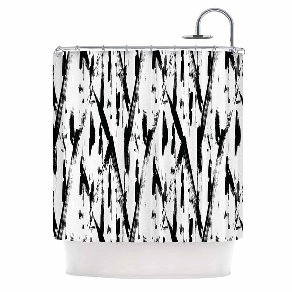 KESS InHouse Metka Hiti Black And White Strokes Black White Shower Curtain (69x70)