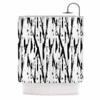 KESS InHouse Metka Hiti Black And White Strokes Black White Shower Curtain (69x70)