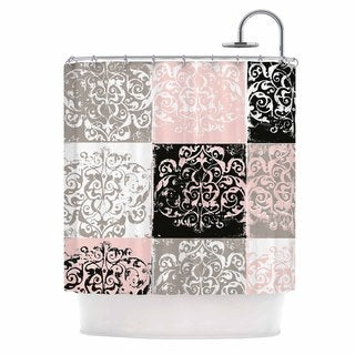 KESS InHouse Chickaprint Damaskmix Pink Gray Shower Curtain (69x70)