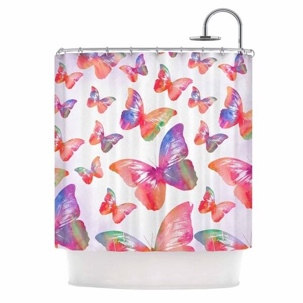 KESS InHouse Li Zamperini Butterfly Pink Lavender Shower Curtain (69x70)
