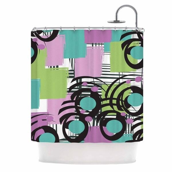 KESS InHouse Chickaprint Solfege Teal Lavender Shower Curtain (69x70)