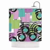 KESS InHouse Chickaprint Solfege Teal Lavender Shower Curtain (69x70)