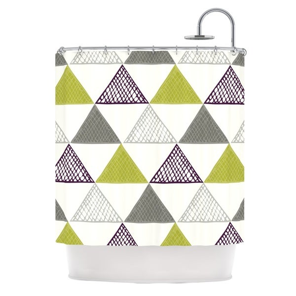 KESS InHouse Laurie Baars Textured Triangles Green Grey White Shower Curtain (69x70)