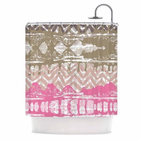 KESS InHouse Chickaprint Allegro Pink Gold Shower Curtain (69x70)