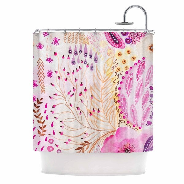 KESS InHouse Li Zamperini Delicada Pink Tan Shower Curtain (69x70)