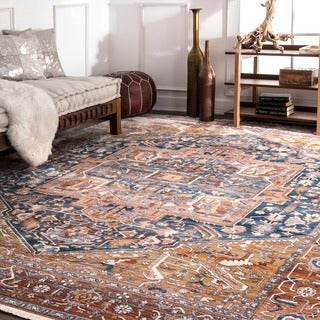 nuLOOM Traditional Fancy Medallion Border Rust Rug (5' x 7'9). Opens flyout.