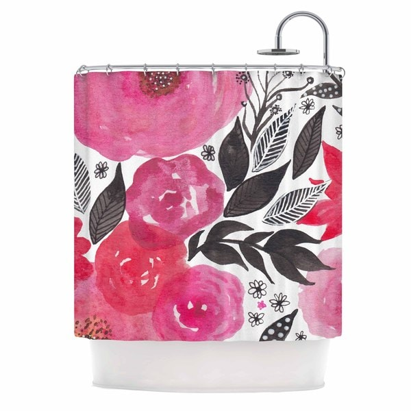 KESS InHouse Li Zamperini Pink Garden Rose Floral Shower Curtain (69x70)