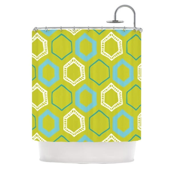 Shop KESS InHouse Laurie Baars Hexy Lime Green Blue Shower Curtain 69x70
