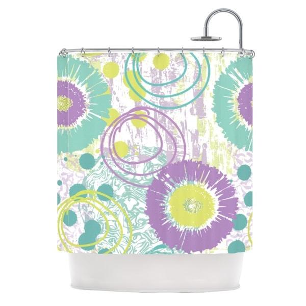KESS InHouse Chickaprint Splatter Purple Teal Shower Curtain (69x70)