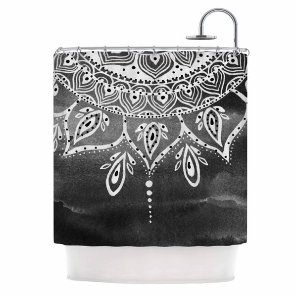 KESS InHouse Li Zamperini Black & White Mandala Gray Abstract Shower Curtain (69x70)