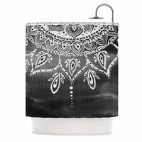 KESS InHouse Li Zamperini Black & White Mandala Gray Abstract Shower Curtain (69x70)