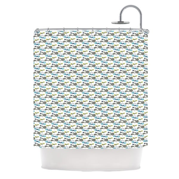KESS InHouse Laurie Baars Mapleseeds Turquoise Blue Yellow Shower Curtain (69x70)