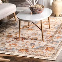 """nuLOOM Ivory Traditional Vibrant Floral Garden Border Area Rug (5' x 7'9) - 5' x 7'9"""""""