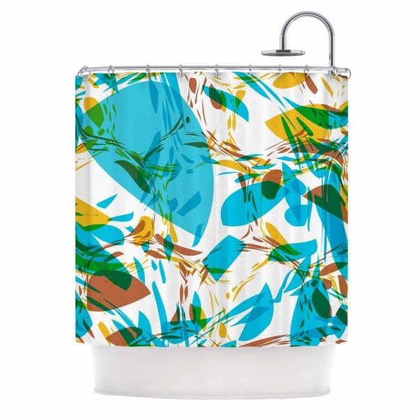 KESS InHouse Matthias Hennig Wild Areas Teal Floral Shower Curtain (69x70)