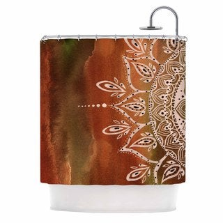 KESS InHouse Li Zamperini Autumn Mandala Orange Brown Shower Curtain (69x70)