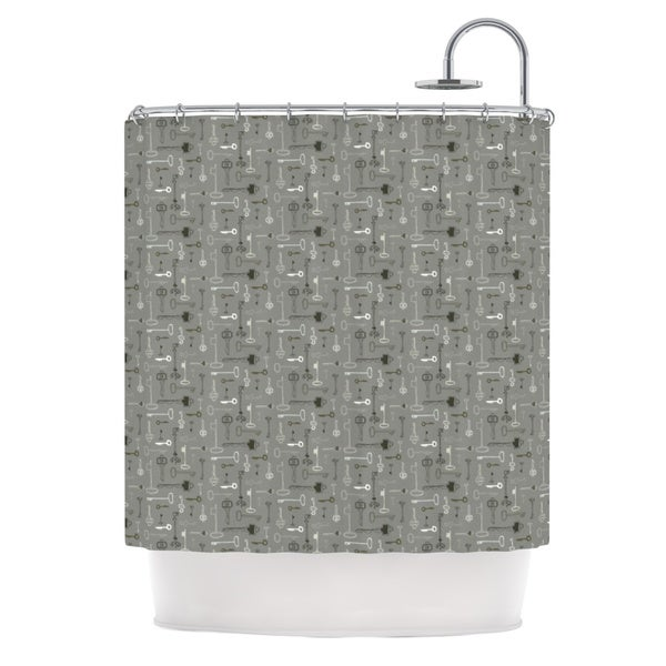 KESS InHouse Laurie Baars Keys Gray Grey Shower Curtain (69x70)