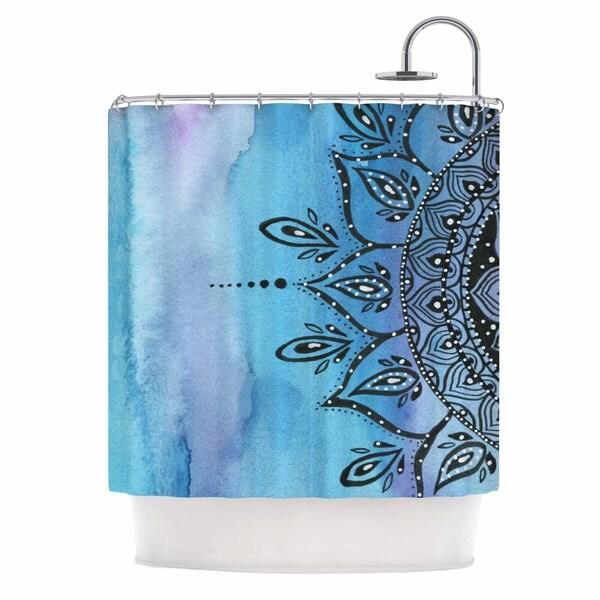 KESS InHouse Li Zamperini Blue Mandala Aqua Black Shower Curtain (69x70)
