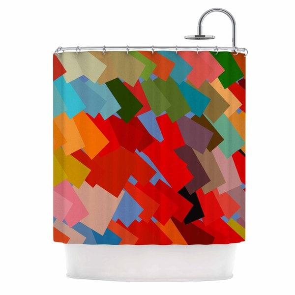 KESS InHouse Matthias Hennig Playful Rectangles Red Orange Shower Curtain (69x70)