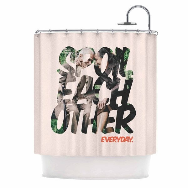 KESS InHouse Just L Spoil Each Other Pink Green Shower Curtain (69x70)