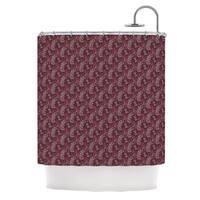 KESS InHouse Laurie Baars Ferns Vines Bordeaux Maroon Floral Shower Curtain (69x70) - 69 x 70