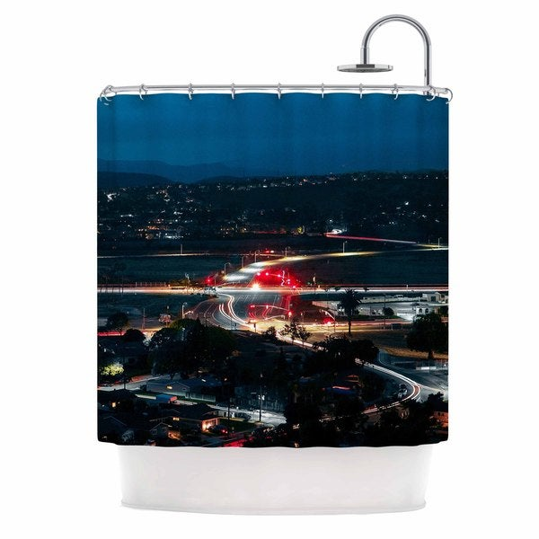 KESS InHouse Just L Chasing Lights Blue Red Shower Curtain (69x70)