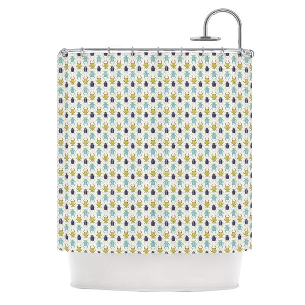KESS InHouse Laurie Baars Beetles Tan Blue Shower Curtain (69x70)