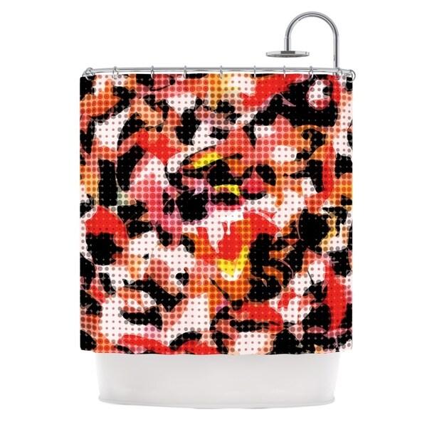 KESS InHouse Matthias Hennig Camouflage Grid Orange Red Shower Curtain (69x70)
