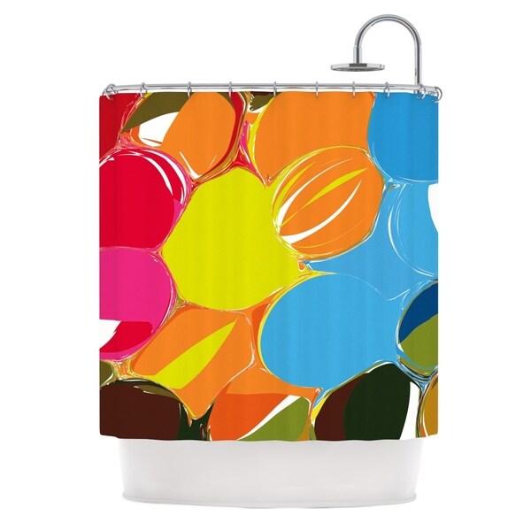 KESS InHouse Matthias Hennig Bubbles Rainbow Circles Shower Curtain (69x70)
