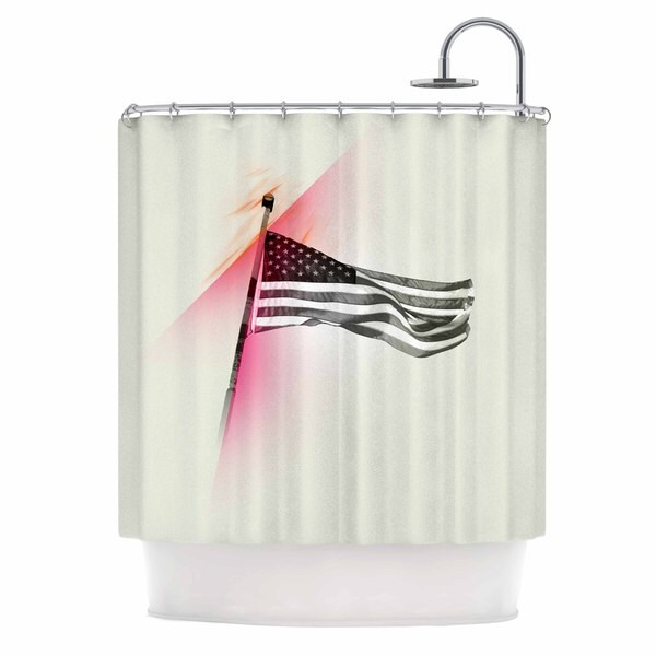 KESS InHouse Just L Capture The Flag  Red Black Shower Curtain (69x70)
