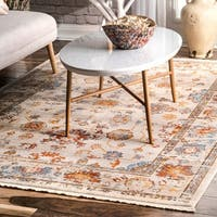 nuLOOM Ivory Traditional Vibrant Floral Garden Border Area Rug (8' x 10') - 8' x 10'