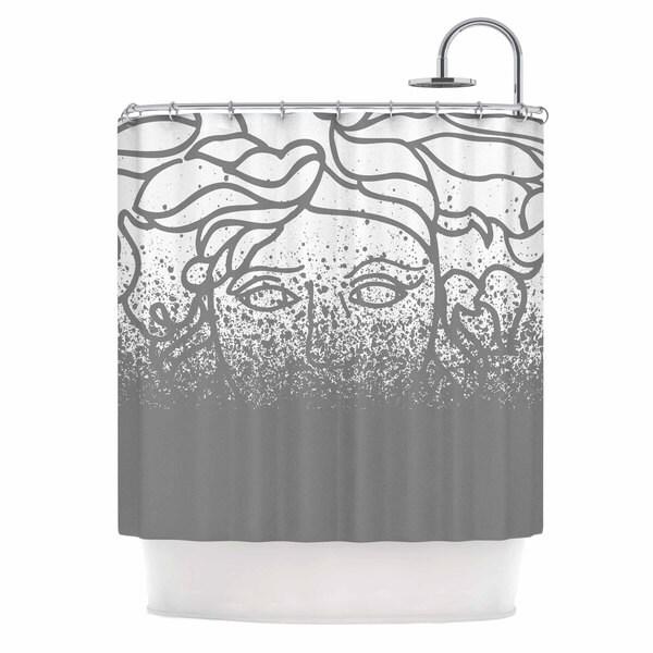 KESS InHouse Just L Versus Spray Gray Digital Shower Curtain (69x70)