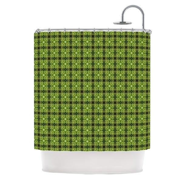 KESS InHouse Matthias Hennig Floral Green Floral Geometric Shower Curtain (69x70)